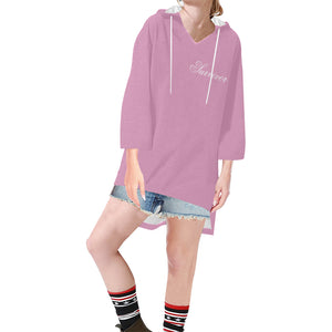 Pink With White Survivor 1 Text Women's V-neck Step Hem Tunic Hoodie (Model H25)