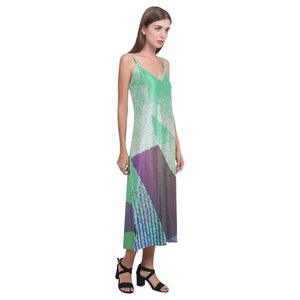 Parakeet Green, White and Tropical Purple Abstract Design © V-Neck Open Fork Long Dress(Model D18)