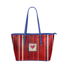 Blue, White and Red Heart Stripe Design Survivor 1 Leather Tote Bag (Model1651) (Big)