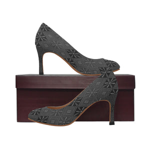 Grey and Black Floral Wreathes I Diamonds Women's Pumps (Model 048)