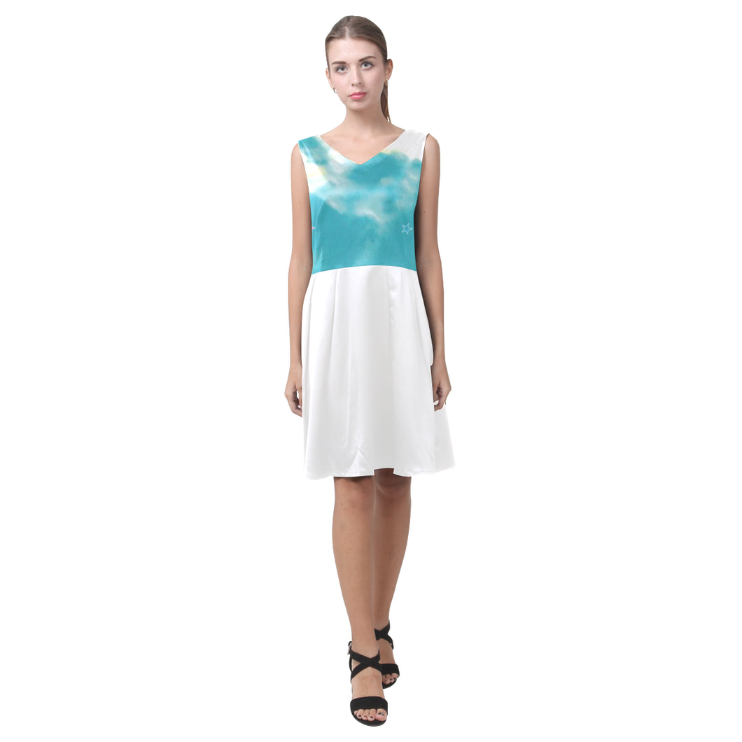 Blue, White and Pink Cloud and Stars © Sleeveless Pleated Dress(Model D07)