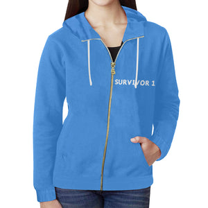 Blue Sweater With White Survivor 1 Text Women's All Over Print Full Zip Hoodie (Model H14)
