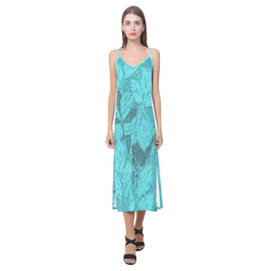Blue Shimmer Leave Surivor 1 Blue Shimmer Diamond Design Survivor 1 © V-Neck Open Fork Long Dress(Model D18)