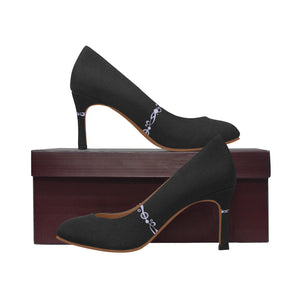 Black Heals With White Swirl Design Women's Pumps (Model 048)
