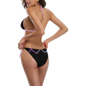 Black, Pink and Lavender Dotted Design Sexy Halter Bikini Swimsuit (Front Buckle) (Model S08)