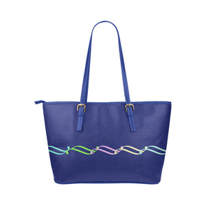 Blue Color Link Design Survivor 1 Leather Tote Bag (Model1651) (Big)