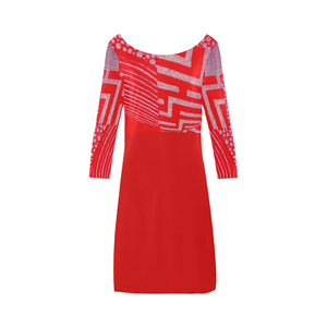 Rose Fantasy Colour Red Abstract Design © Women's Boat Neck A-line Dress(Model D21)