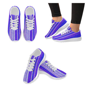 Lavender, White and Purple Designs Women's Sneakers (Model020) (Large Size)