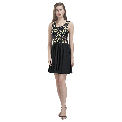 Black Colorful Heart Design Survivor 1 © Sleeveless Skater Dress (Model D19)