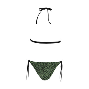 Intricate and Ornamental Patterns Sexy Halter Bikini Swimsuit (Front Buckle) (Model S08)