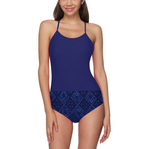 Black and Blue Diamond Laurel Design © Women's Slip One Piece Swimsuit (Model S05)