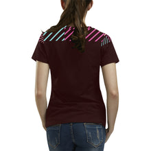 Green, Blue Colour Lines With Survivor 1 Text ® Women's All Over Print T-shirt (USA Size) (Model T40)
