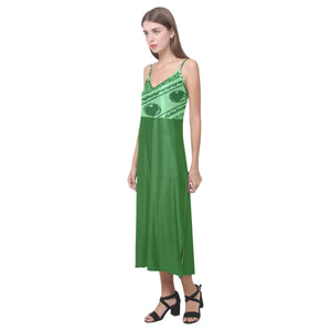 Emerald Green and Light Green Heart Design © V-Neck Open Fork Long Dress(Model D18)