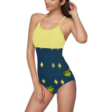 Yellow Diamond an Green Heart Design © Women's Slip One Piece Swimsuit (Model S05)