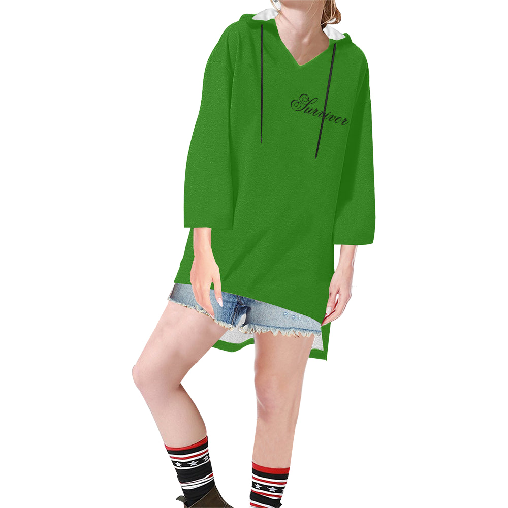 Green With Black Survivor 1 Text Women's V-neck Step Hem Tunic Hoodie (Model H25)