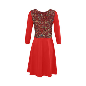 Red Splash Design © 3/4 Sleeve Sundress(Model D23)