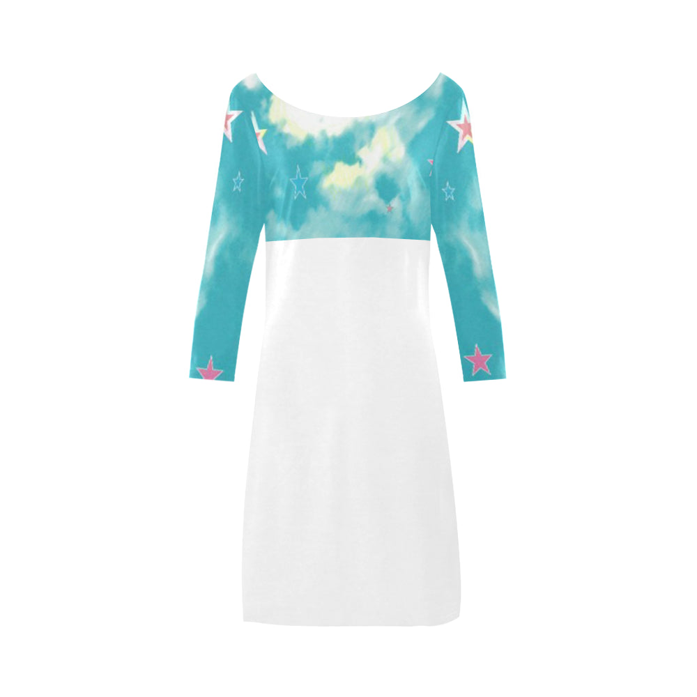 Blue, Pink and White Sky and Stars © Women's Boat Neck A-line Dress(Model D21)