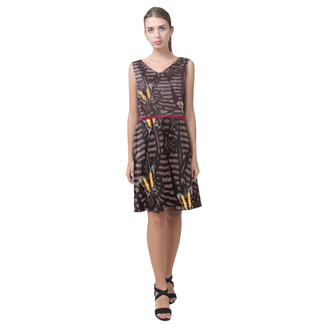 Mahogony, Merlot and Yellow Butterflies © Sleeveless Pleated Dress(Model D07)