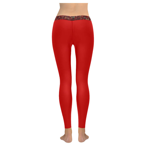Red With Maroon Splash Trim © All-Over Low Rise Leggings (Model L07) (Outside Serging)
