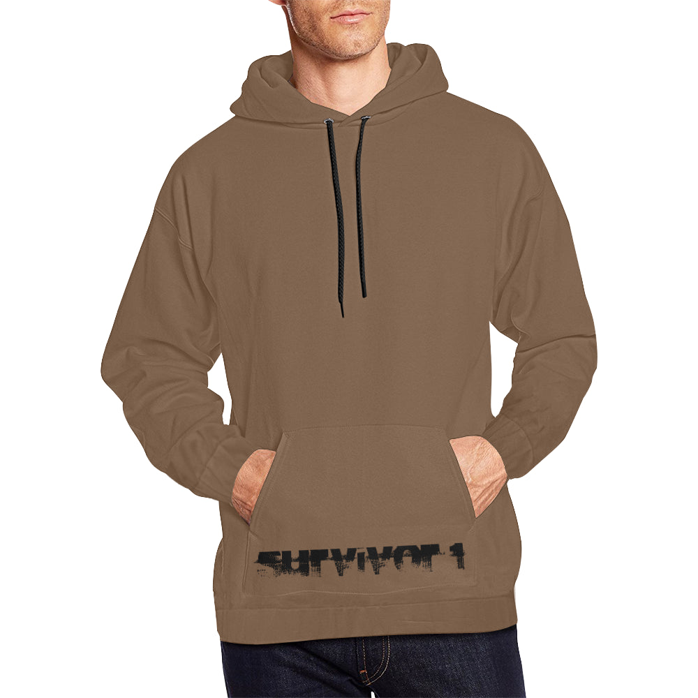 Brown With Black Text ® Men's All Over Print Hoodie Large Size (USA Size) (Model H13)