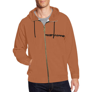 Brown and Black Survivor 1 Text ® Men's All Over Print Full Zip Hoodie (Model H14)