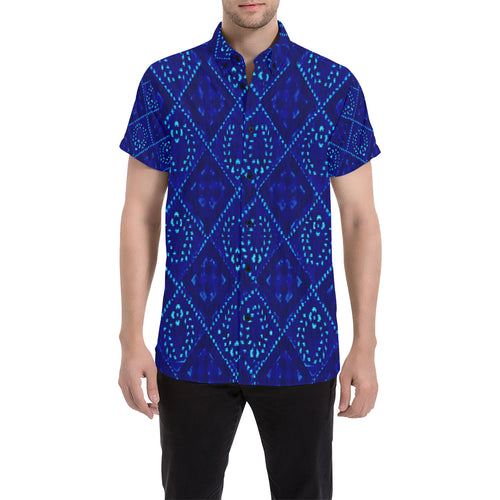 Blue Laurels In Diamonds Men's All Over Print Short Sleeve Shirt (Large Size) (Model T53)
