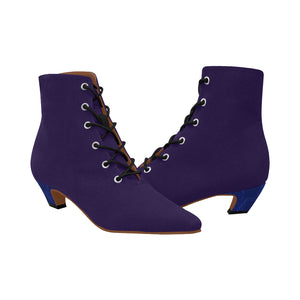 Blue Boots With Blue Design Heals Women's Chic Low Heel Lace Up Ankle High Boots (Model 052)