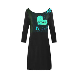 Black and Tiffany Blue Heart Design With Diamonds and Survivor 1 Text © Women's Boat Neck A-line Dress(Model D21)