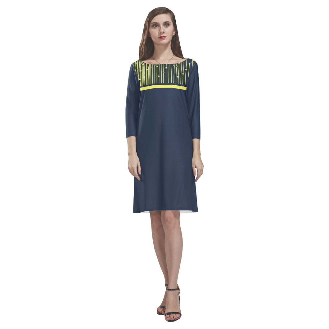 Aegean Blue and Yellow Drape Design © Loose Round Neck Dress(Model D22)
