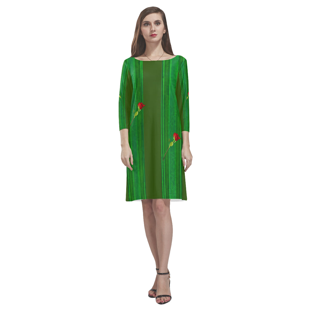 Green Lines and Red Roses © Loose Round Neck Dress(Model D22)