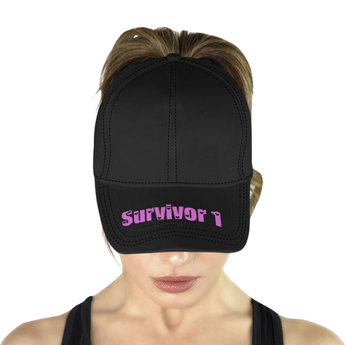 Black Cap With Pink Survivor 1 Text All Over Print Dad Cap
