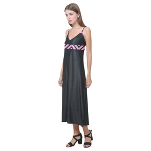 Pink and Black V Stripe Design © V-Neck Open Fork Long Dress(Model D18)