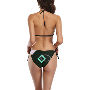 Black Beauty Music Note Design With White Circle and Teal Diamonds Sexy Halter Bikini Swimsuit (Front Buckle) (Model S08)