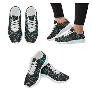 Black Colour Line Design Women's Sneakers (Model020) (Large Size)