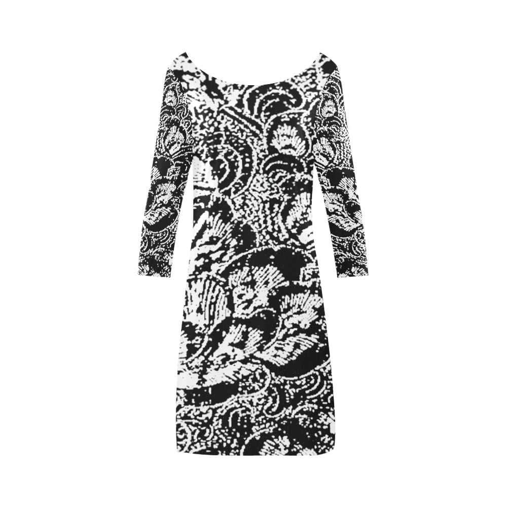 Black and White Shell Design © Women's Boat Neck A-line Dress(Model D21)