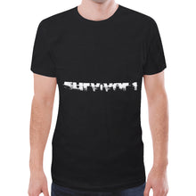 Black and White Survivor 1 Text ® Men's All Over Print Mesh T-shirt (Model T45)