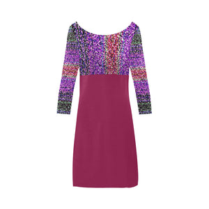 Deep Magenta, Mauve and Yellow Shimmer Colour Design © Women's Boat Neck A-line Dress(Model D21)