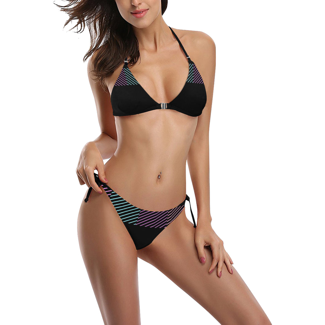 Black Teal and Pink Color Line Design Sexy Halter Bikini Swimsuit (Front Buckle) (Model S08)