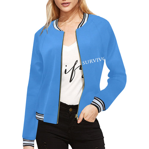 Blue Jacket With White Survivor 1 Text ® Women's All Over Print Horizontal Stripes Jacket (Model H21)
