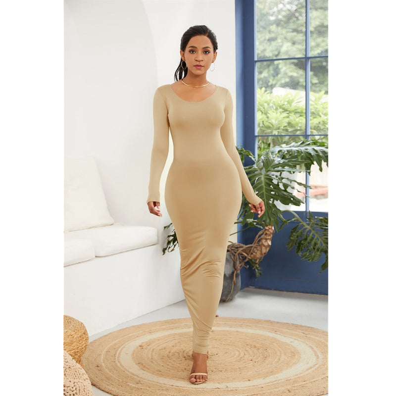 Women New Long Sleeve O Neck Solid Slim Long Dress Casual Simple High Stretchy Bodycon Package Hip Maxi Dress