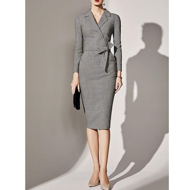 Midi Women career Retro plus size Slim Fit Plaid Bodycon Work Office Business Pencil Dress with belt Autumn winter suit