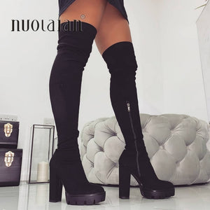 11CM High Heels Winter Boots Women Thigh High Snow Boots Woman Faux Fur High Heel Shoes Womens Over The Knee Boots Lady Shoe