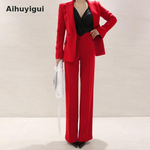 Autumn Business Uniform Women Red Pant Suits Two Piece Set Slim Double Buckle Jacket Office Work Pants Set Mujer Ka50