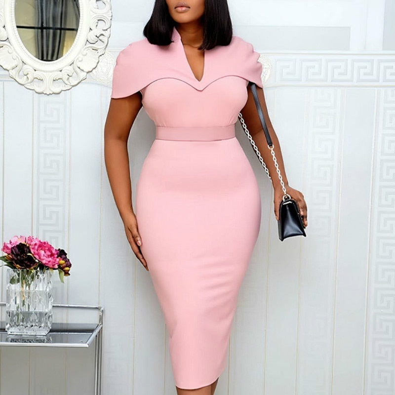 Women Pink Dresses Short Sleeve Bodycon Pencil Elegant Office Lady Classy Dress Slim Vestido African Large Size Modest Female