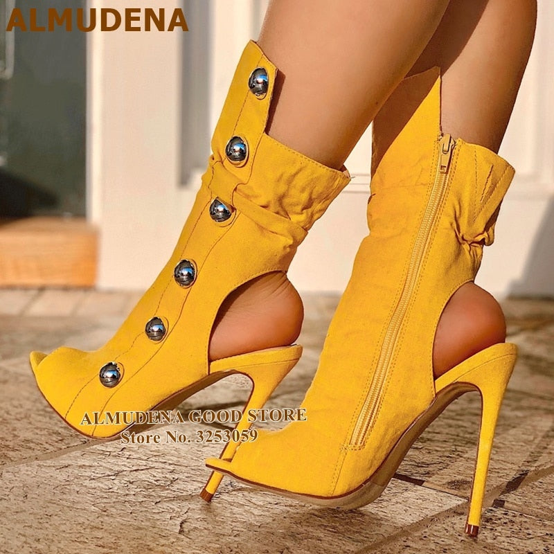 ALMUDENA Yellow Studded Peep Toe Booties Stiletto Heel Metal Decoration Dress Boots Cut-out Ankle Boots High Heel Pumps Dropship