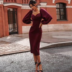 sexy pure V Neck off shoulder bodycon dress women dress spring 2020 club party night red Elegant midi dress vintage black dress