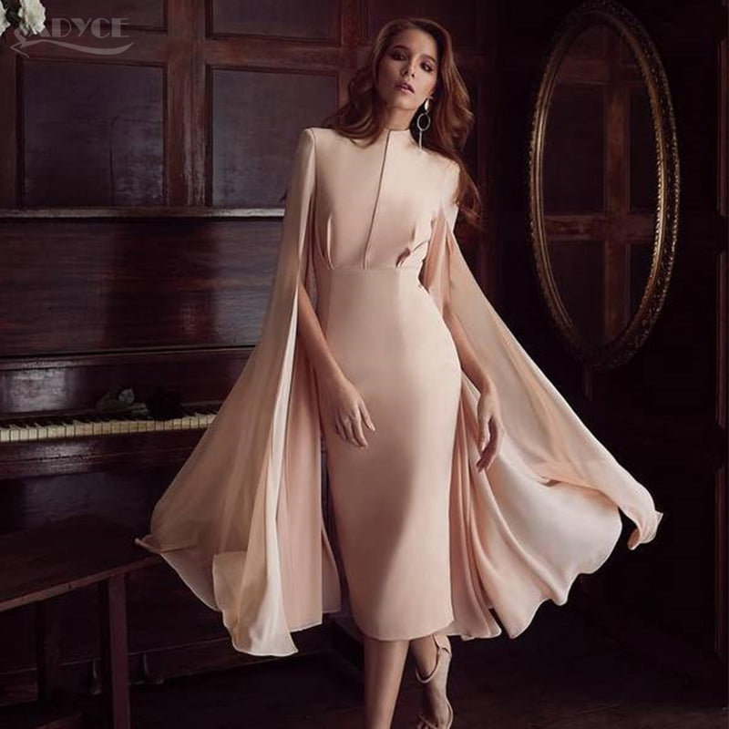 ADYCE Sexy Women Bodycon Summer Runway Dress Pink O-Neck Batwing Sleeve Midi Luxury Celebrity Party Club Dresses Vestidos