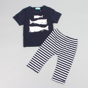 Unisex Summer Style Baby Girls Boys Clothes Black Letter T-shirt+Imitation cowboy pants 2pcs suit by Jackie Boatwright. Curated, affordable fashion.