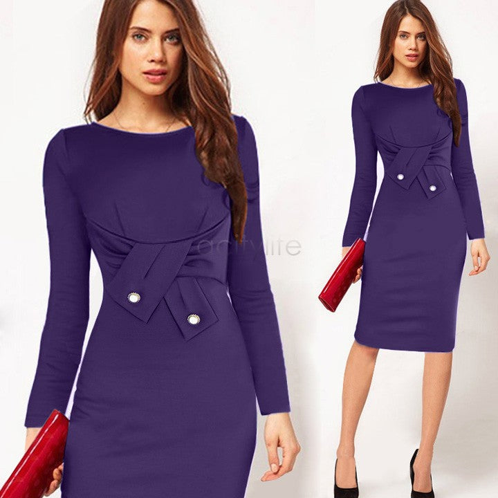 Knee Length Bodycon Long Sleeve Pencil Dress by Jackie Boatwright. Curated, affordable fashion.