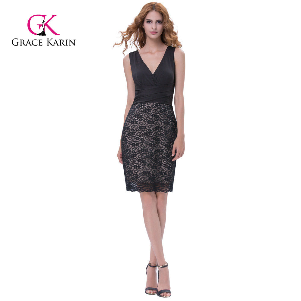 Grace Karin Sleeveless V Neck U Back Vintage Retro Cocktail Dresses Plus Size Summer Lace Bodycon Party Dress Robe by Jackie Boatwright. Curated, affordable fashion.